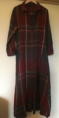 £4 • Buy Only 12 14 (42) Button Front Maxi Shirt Dress Rust & Grey Check