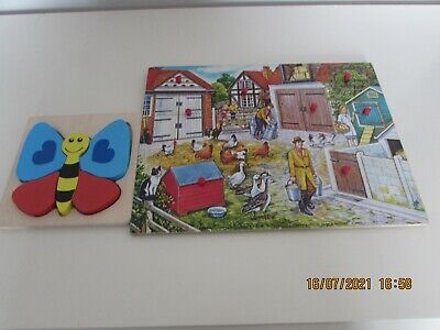 £2.99 • Buy Farmyard Wooden Jigsaw Puzzle And Butterfly Puzzle