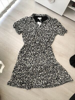£10 • Buy Warehouse Short Sleeve Collared Floral Black And White Tea Dress Size 10 Bnwt