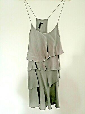 £7.99 • Buy Topshop Grey Silk Ruffle Dress Womens Size 12 Fully Lined Strappy Summer Dress