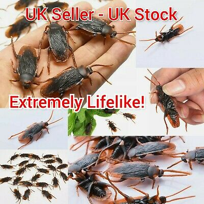 £3.99 • Buy 20x Fake Cockroach Novelty Roaches Bugs Realistic Insects Toy Prank Funny