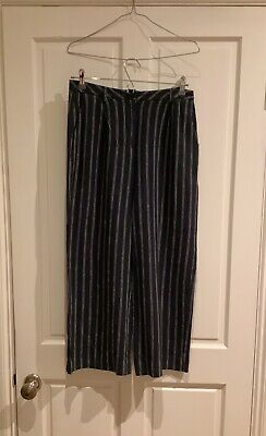 £5 • Buy NICE THINGS Paloma S, Ladies, Navy Striped, Wide Leg Trousers, Size 10