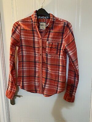 £1.99 • Buy Cute Hollister Red Checked Cotton Shirt Size M