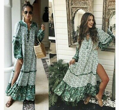 AU340 • Buy Spell & The Gypsy Collective Winona Gown Dress In Ivy Green Size Xl