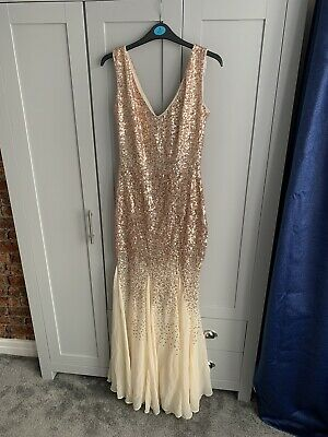 £25 • Buy Goddiva Sequin And Chiffon Dress Champagne Size 10 Brand New With Tags