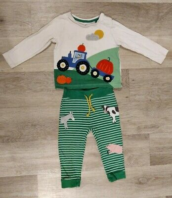 £1.10 • Buy Baby Boden Pumpkin And Farmyard  Autumn Top And Trousers Set 18-24 Months
