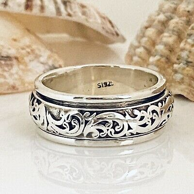 £22.99 • Buy Sterling Silver Spinning Ring Flower Scroll Worry Stress Thumb Ring Size O