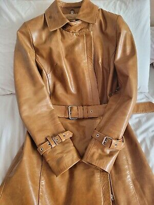 £65 • Buy Tan Knee Length Leather Coat With Buckle Belt Size 10