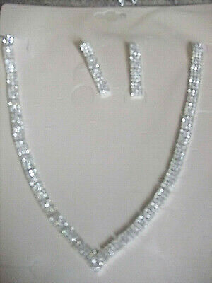 £4.99 • Buy 2 Piece Set - White Austrian Crystal Necklace And Earrings