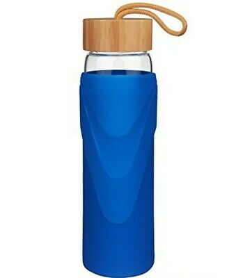 £16 • Buy 1000ml JUSTWATER GLASS WATER BOTTLE WITH SILICONE SLEEVE AND BAMBOO LID