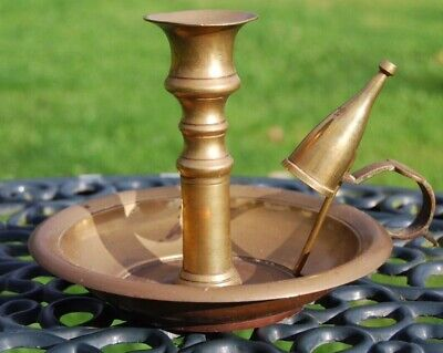 £7.80 • Buy Vintage Brass Chamberstick  Candle Stick With Snuffer 5 Inches High