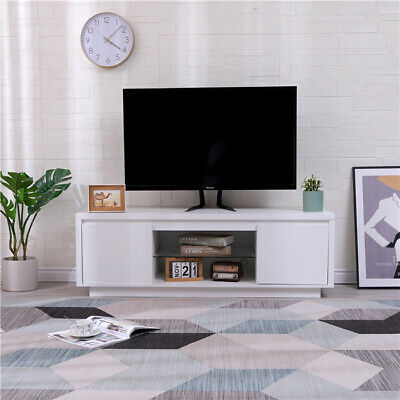 £89.99 • Buy HMD Wooden TV Cabinet Unit With Door & Storage Glass Shelves Media Stand White