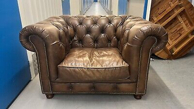 £499 • Buy Stunning HALO ASQUITH Leather Chesterfield Club Chair Buttoned Delivery 🚚