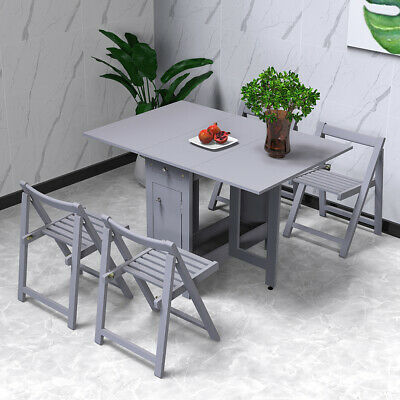 AU400.99 • Buy Table And 4 Chairs Wooden Folding Dining Set Extending Space Saving Small