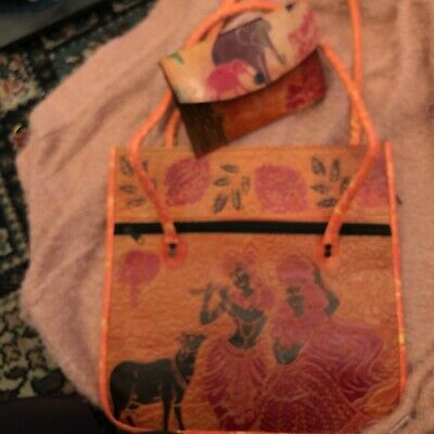 £1.99 • Buy Hand Crafted Traditional Radha Krishna Leather Bag And Purse , Cow Block Print