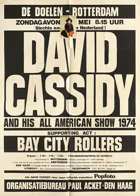 $29.99 • Buy David Cassidy & Bay City Rollers 1974 Rotterdam, The Netherlands Concert Poster
