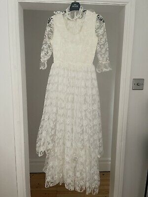 £18.40 • Buy Vintage Wedding Dress Lace With Underskirt Edwardian Victorian Gothic