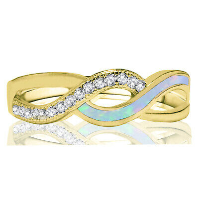 £42.73 • Buy Yellow Gold Plated White Fire Opal Infinity Celtic Micro Pave Silver Ring