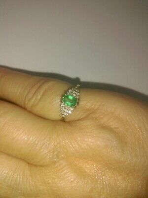 £300 • Buy 9ct Gold Emerald And 20 Diamond Cluster  Vintage 1991 Ring Wt 2.7g