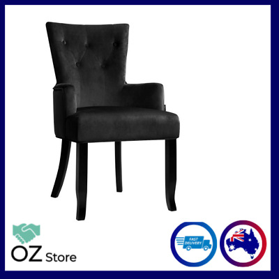 AU158.90 • Buy Artiss Dining Chairs French Provincial Chair Velvet Fabric Timber Retro Black