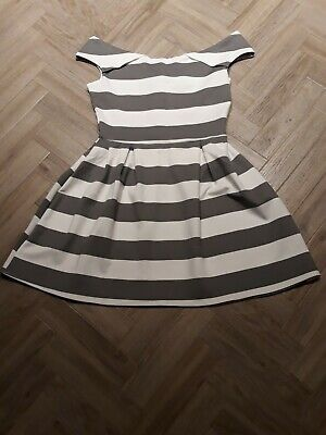 £4.99 • Buy Wal G Brand New With Tags Grey & White Striped Skater Dress Size UK L 14