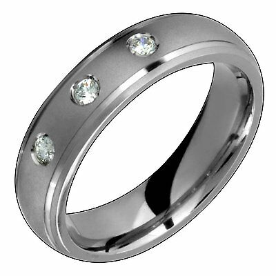 $534.99 • Buy Mens Titanium Ring With Diamond Engagement Wedding  Band For Him N Her