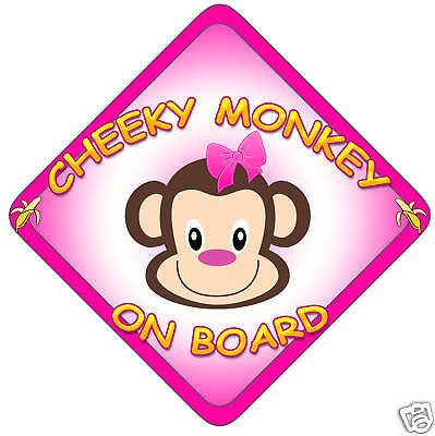 £3.99 • Buy Car Sign(Child On Board) Cheeky Monkey Girl/Pink