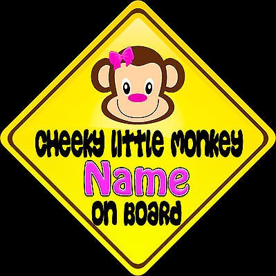 £3.99 • Buy Car Sign(Child On Board) Cheeky Little Monkey - Pink