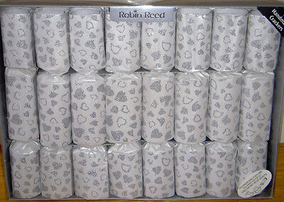8 GIANT SILVER Glitter HEARTS On White Crackers Wedding Anniversary • 16.19£