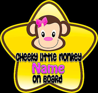 £3.99 • Buy Personalised Star Shaped Baby On Board Car Sign Cheeky Little Monkey ~ Pink