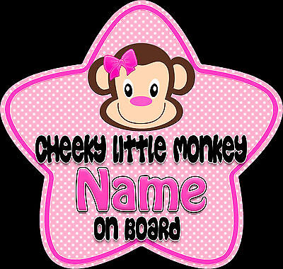 £3.99 • Buy Personalised Star Shaped Baby On Board Car Sign Cheeky Little Monkey ~ Pink 2