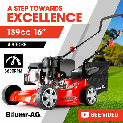AU259 • Buy Baumr-AG Lawn Mower 16  Petrol Powered Hand Push Engine Lawnmower Catch 4 Stroke