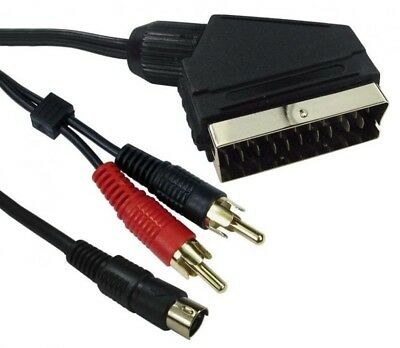 SCART To SVIDEO And 2 Phono S-VHS S-Video Lead DVD PC TV Audio & Vision Cable 1m • 6.35£