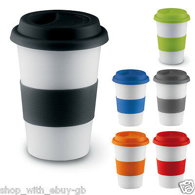 £11.99 • Buy Ceramic Travel Mug Coffee Tea Cup Takeaway With Silicone Band And Lid 400ml