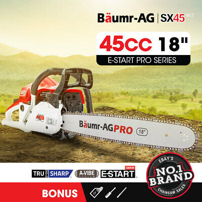 AU119 • Buy Baumr-AG 45cc Petrol Chainsaw Commercial 18 Bar Chain Saw E-Start Pruning