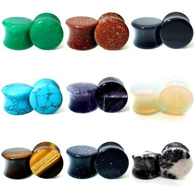 AU5.40 • Buy 3mm - 30mm Stone Ear Plug Semi Precious Stretcher Tunnel Taper Saddle Tiger Eye