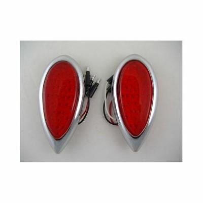 $54.99 • Buy Red LED Tear Drop Trailer Car Truck Stop Turn Brake Tail Lights / Chrome Bezels