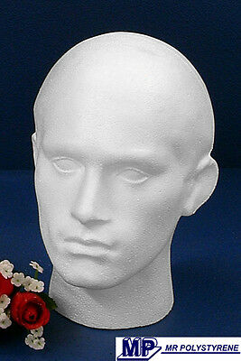 £9.50 • Buy 2 Polystyrene Male Mannequin Display Heads Brand New