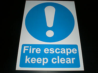 Fire Escape Keep Clear Plastic Sign Or Sticker Choice Of Sizes Emergency Exit • 1.09£