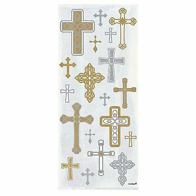 20 Party(Loot)Cellophane Bags CROSSES Christening First 1st Communion Gift Cello • 1.75£