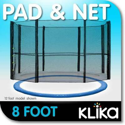 AU95 • Buy NEW 8ft REPLACEMENT OUTDOOR TRAMPOLINE SAFETY NET AND SPRING PAD COVER