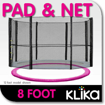 AU95 • Buy PINK 8ft REPLACEMENT OUTDOOR TRAMPOLINE SAFETY NET AND SPRING PAD COVER