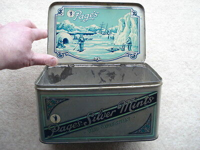 Vintage Page's Silver Mints Sweets Tin With Arctic Exploration Theme/picture  • 34.99£