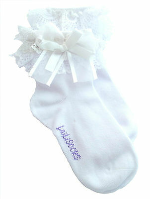 2 Pairs Girls Kids Toddlers White Lace Trim Frilly School Socks Age 1 To 10 • 4.89£