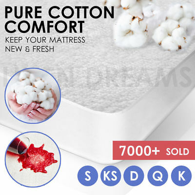 AU24 • Buy All Size Terry Cotton Fully Fitted Waterproof Mattress Protector Pillow Cover