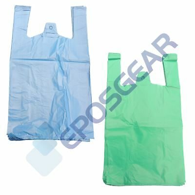 Large Jumbo Blue Green Strong Recycled Eco Plastic Vest Shopping Carrier Bags • 5.30£