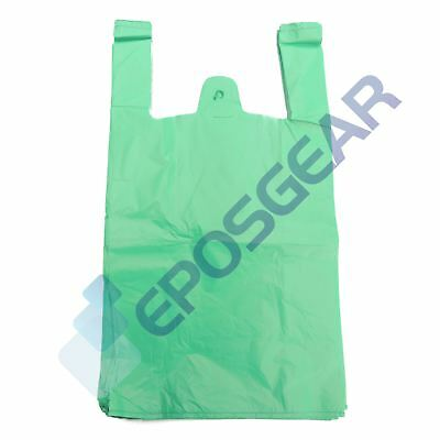 100 Large Green Strong Recycled Eco Plastic Vest Shopping Carrier Bags 24mu • 5.10£