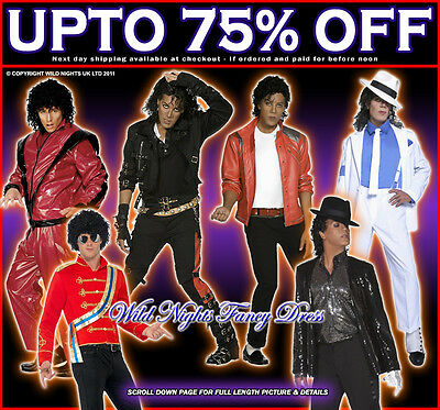 OFFICIAL MENS MICHAEL JACKSON 80s FANCY DRESS COSTUMES 1980's 1970's KING OF POP • 19.99£