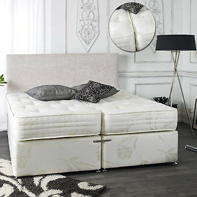 £379.99 • Buy 6ft Super Kingsize Zip And Link Divan Bed With 1500 Pocket Sprung Mattresses