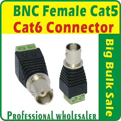 AU9.99 • Buy 10 X BNC Female Connector Coax Cat5 Cat6 Cable For CCTV DVR Aus Seller